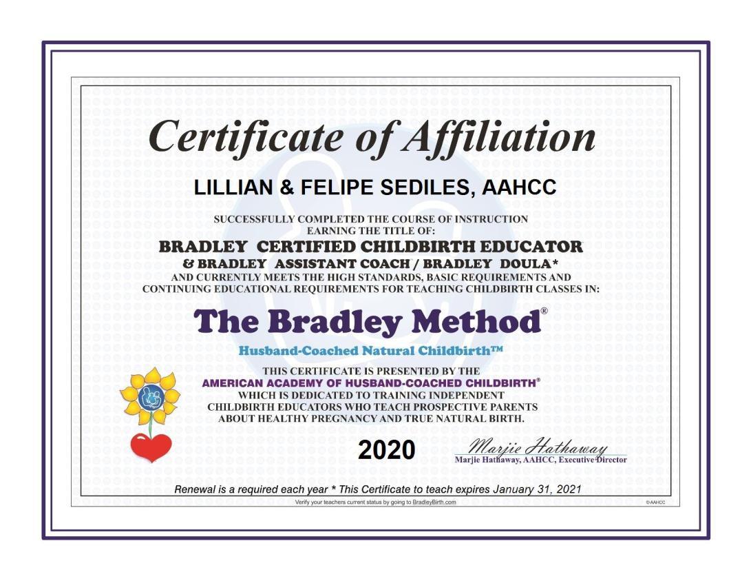 Bradley Method Certificate 2020