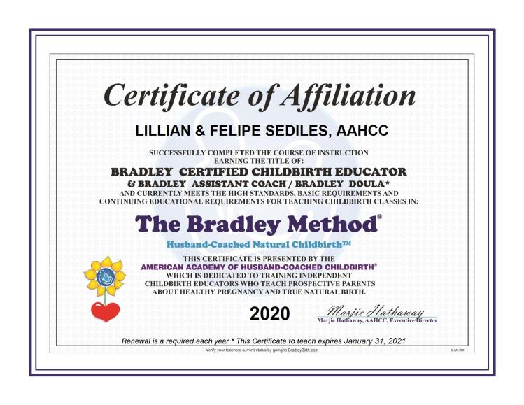 Bradley Method Certificate 2020